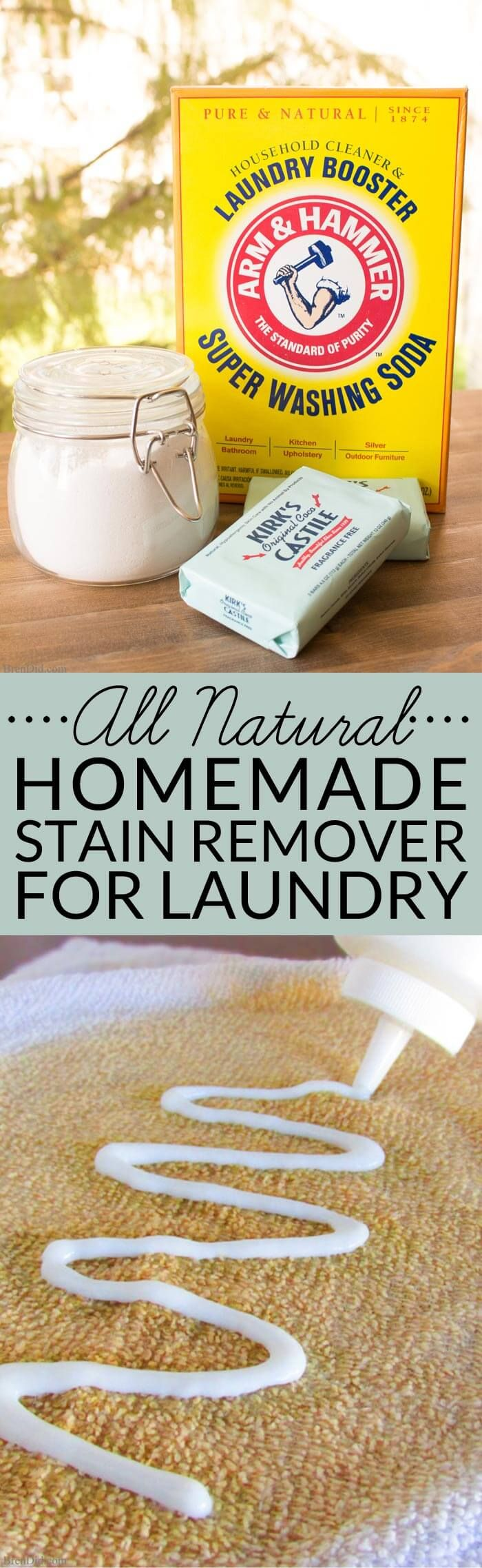 This All-Natural Homemade Stain Remover for Laundry is a simple DIY that makes an effective stain fighter that you can feel good about using. It rates and A on the EWG healthy cleaners scale and  only cost pennies to make!