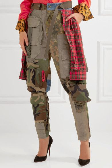 Ronald Van Der Kemp - Patchwork Printed Cotton-flannel, Denim And Twill Pants - Army green - medium