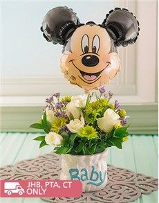 Unique Baby Gifts: Flower Arrangement with Mickey Mouse Balloon!