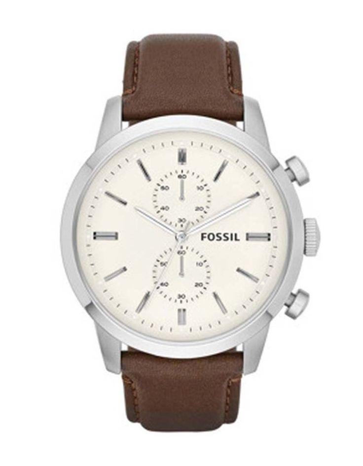 Fossil - Pánské hodinky s hnědým koženým páskem - 1