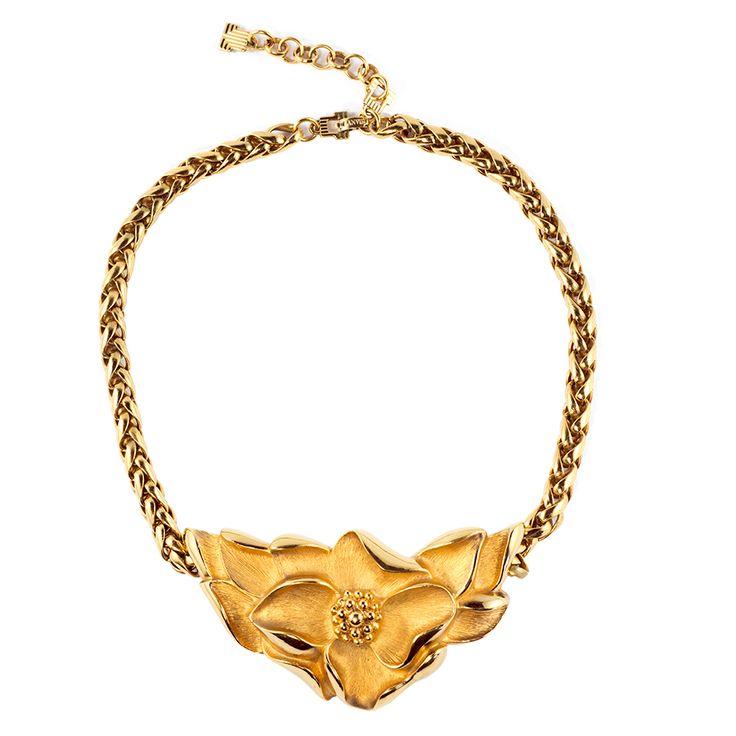 Vintage LANVIN Signed Flower Design Choker Necklace c. 1970