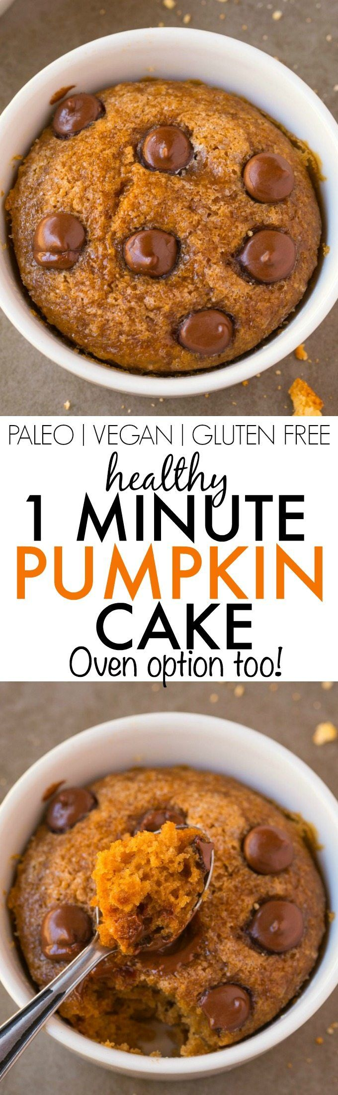 Healthy ONE Minute Pumpkin Mug Cake- Light, fluffy and moist on the inside and…