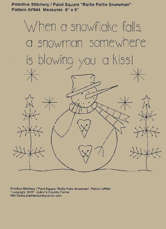 WHEN A SNOWFLAKE FALLS, A SNOWMAN SOMEWHERE IS BLOWING YOU A KISS.    Pattern measures 7 1/2 wide x 7 1/2 tall. E-Patterns are sent quickly and you will need Adobe  Reader 9 to open your e-pattern. Please feel free to email me at, fortin2 [!at] comcast.net, if you do not have Adobe Reader and I will send the Adobe Reader link to you which can be downloaded free. If you would prefer printed patterns, please feel free to visit my main store website at, http://www.joannscountrycorner.com All…