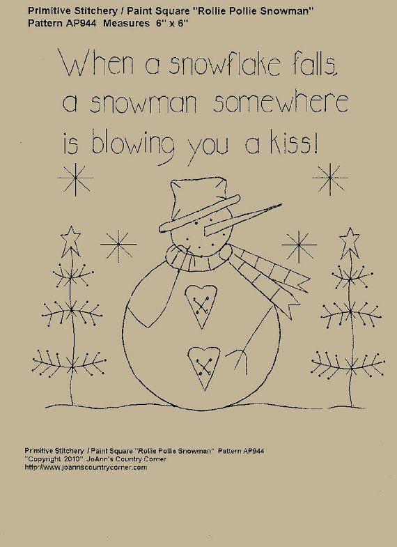 Snowman Kisses Stitchery