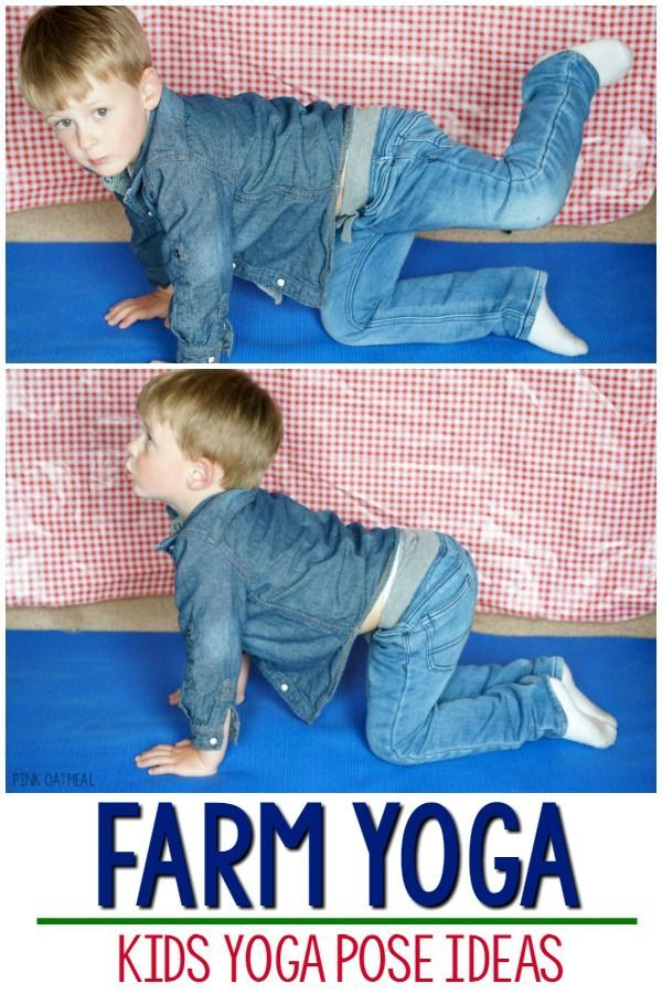 Farm yoga and movement ideas. Great for kids yoga, brain breaks, or a great farm themed activity!