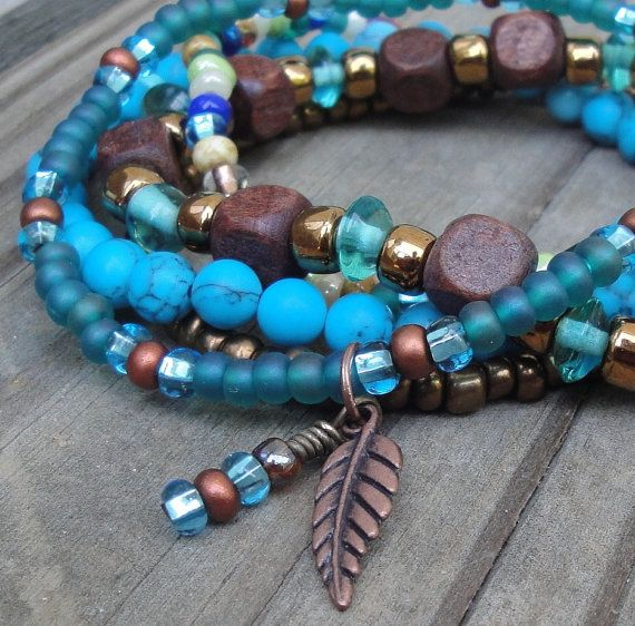 HARMONY - Multistrand Boho Gypsy Hippie Stacking Stretch Bead Bracelets