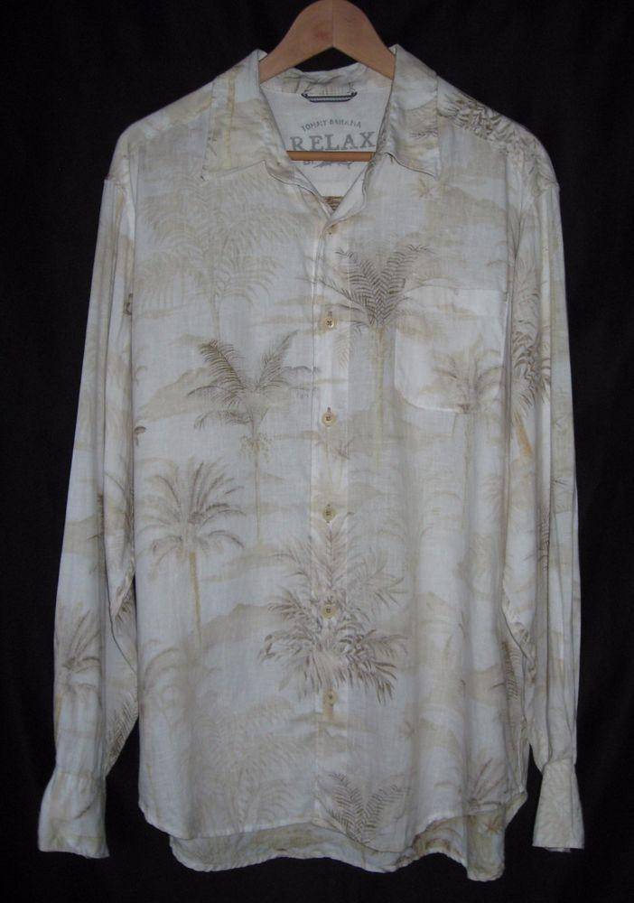 Tommy bahama mens linen shirt size large long sleeves for Tommy bahama long sleeve dress shirts