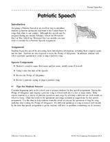 Students practice oral speaking by preparing a patriotic speech.
