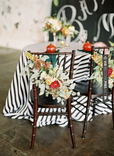 Love this - chair swags | Landon Jacob | CHECK OUT MORE GREAT BLACK AND WHITE WEDDING IDEAS AT WEDDINGPINS.NET | #weddings #wedding #blackandwhitewedding #blackandwhiteweddingphotos #events #forweddings #iloveweddings #blackandwhite #romance #vintage #blackwedding #planners #whitewedding #ceremonyphotos #weddingphotos #weddingpictures