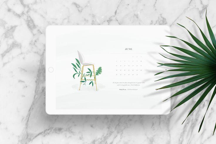 June Desktop Wallpaper, 2017, LIV interiors, Beetle Chair inspired by Gubi, marble, green, leaf, Love, Erich Schiffman