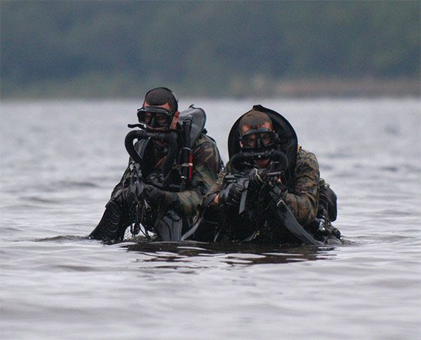 A pair of Force Recon Marines, with the 1st Force Recon Company, wearing closed-circuit rebreathers,, exit the water during a training course.