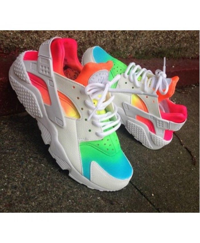 low priced 5dab2 4d77d Nike Air Huarache Rainbow Blue Green Orange White Trainers