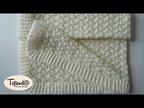 Cobija o manta con tablillas caladas tejida en dos agujas o palitos - YouTube