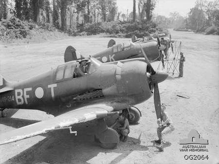 CAC Boomerang aircraft from No. 5 Squadron RAAF at Piva Airfield, Bougainville in 1945.
