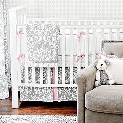 "New Arrivals Stella Gray 4 Piece Crib Bedding Set, Grey by New Arrivals. $499.00. We are loving the combination of pink and gray colors. Our Stella Gray set pairs our Wisteria in Slate fabric with pink accents to create a chic and sophisticated look. The sheet is of Sunburst in Slate fabric, and the 17"" tailored skirt is made from Wisteria in Slate with Cotton Candy pleats. The four piece includes a bumper, crib sheet, skirt, and blanket."