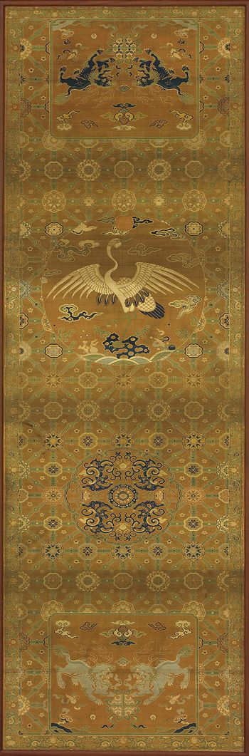 Chair cover with a crane, lions, dragons, auspicious symbols and floral patterns 18th century - Qing dynasty