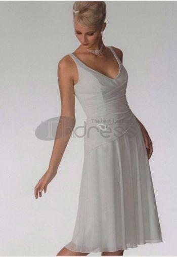 A-Line/Princess V-neck Knee-Length Chiffon Bridesmaid Dresses
