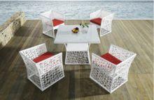 DS-(259) branco rattan mobília de jantar ao ar livre set / branco de jantar e cadeira