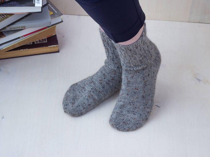 Gray knitted socks Red wool socks Wool nylon blend socks Gift idea for her All sizes available Sock yarn socks Ribbed pattern socks by MarooSocks on Etsy
