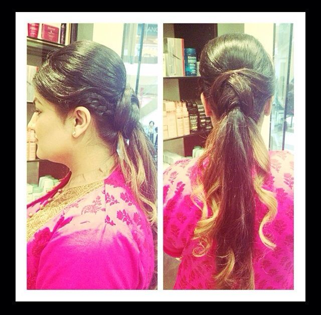Creative ponytail updo with curls and braid by Master Stylist ...