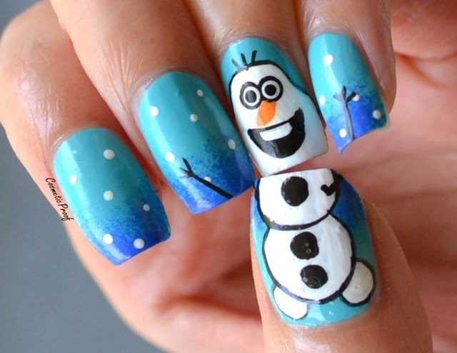 Frozen nails! Awesome for the winter | #olaf