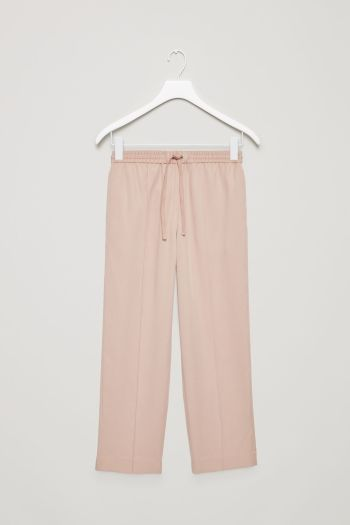COS image 2 of Tailored drawstring trousers in Beige
