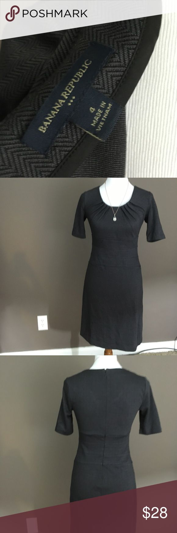 """Banana Republic Hot Secretary Dress Sophisticated BR dress - great for work or a special night out.  Grey background with a delicate black herring bone detail.  Waist detail makes the dress incredibly flattering.  Zippered back, partially lined.  Condition: Perfect, preworn condition.  Only worn once!  Measurements: Length from neck to hem: 35"""" Sleeve: 10 1/2"""" Bust: 14"""" Waist: ~27"""" round at smallest point  Fabric & Care: Body: 77% polyester 18% rayon 5% spandex Liner: 95% polyester 5%…"""