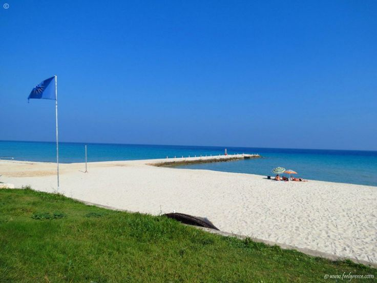Early summer and empty beach in Kalithea, the resort with best nightlife and entertainment in Kassandra