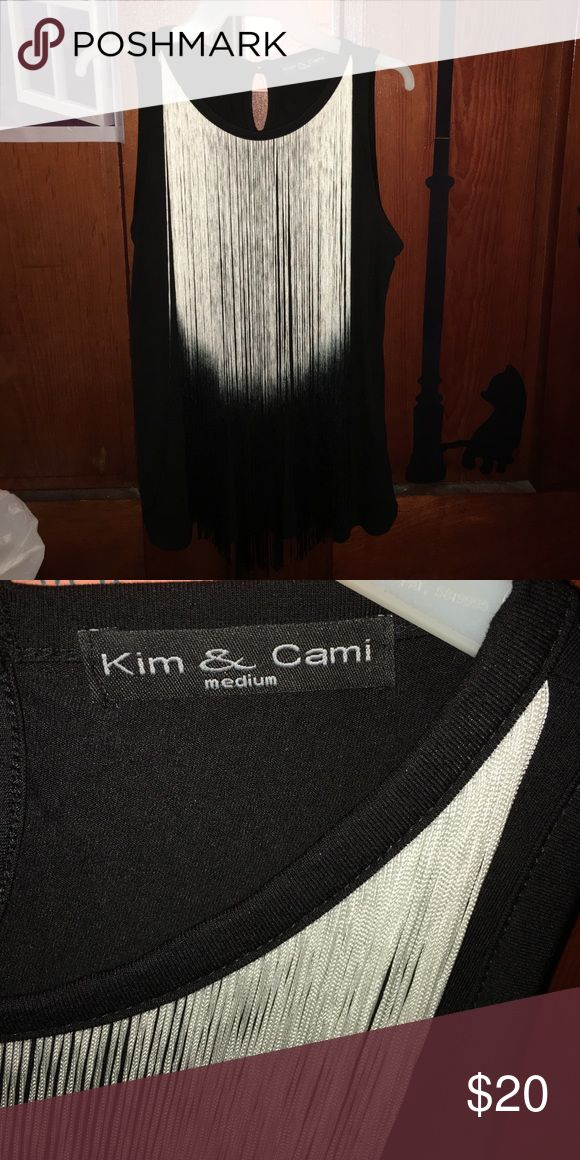 Kim &Cami Black Top Kim &Cami Black Top with black and white tassels, Size M Kim & Cami Tops Blouses
