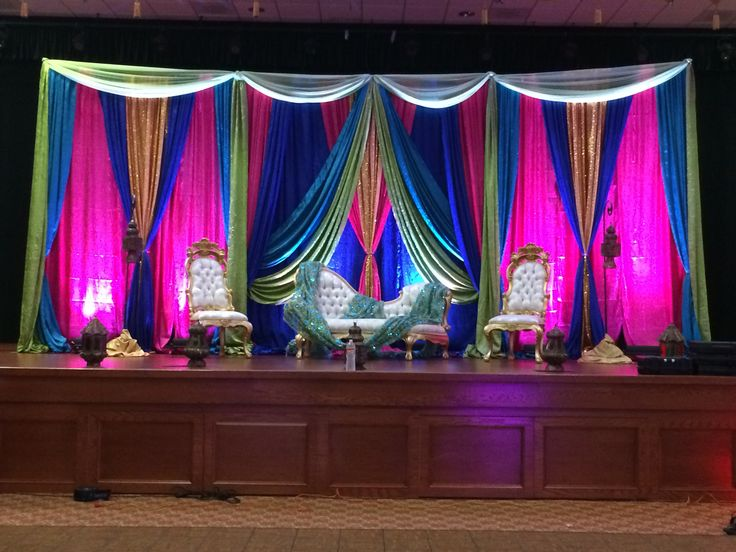 Mehndi Stage in Royal Blue Hot Pink Green Gold  Mehndi Decor  Mehndi decor Mehndi stage