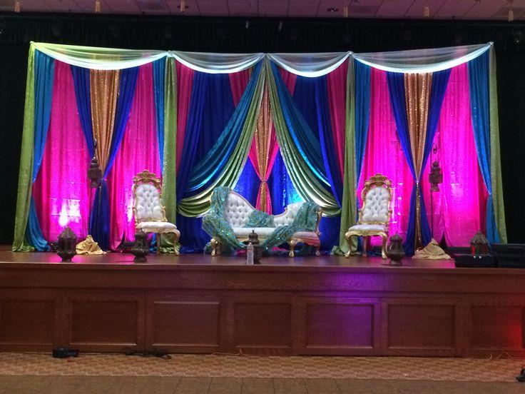 Mehndi Stage in Royal Blue, Hot Pink, Green, Gold | Mehndi ...