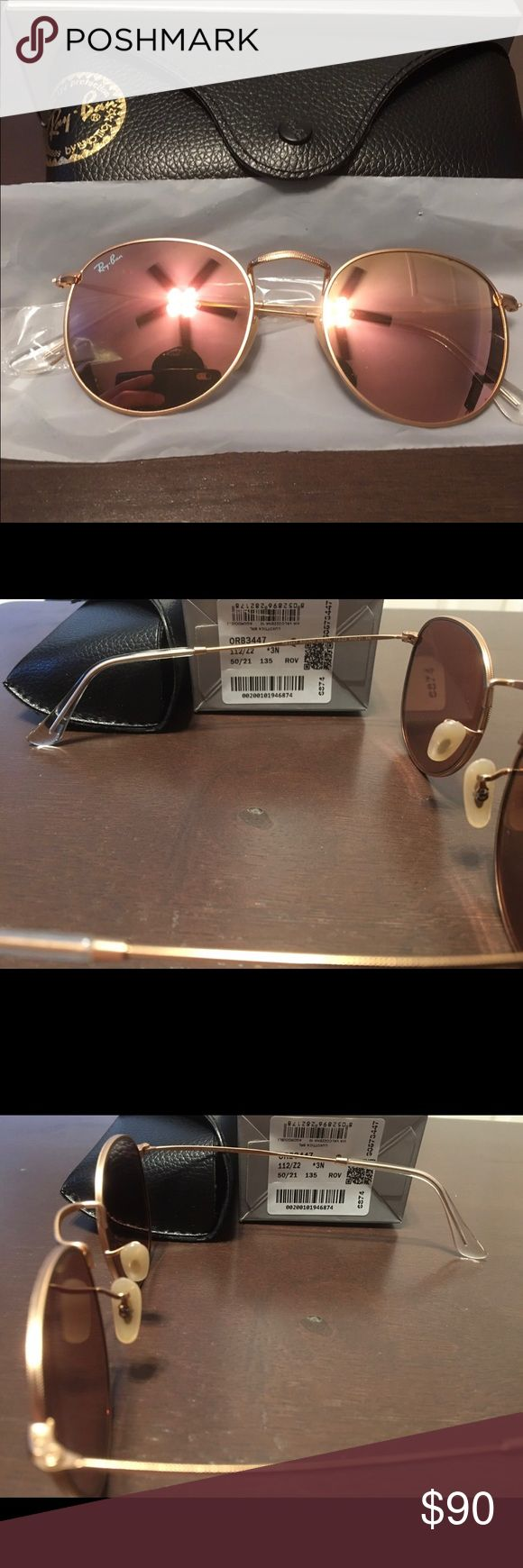 Ray Ban Round Metal RB 3447 Ray Ban Round Metal Brand New Model RB 3447 Matte gold frame with pink lens RB etched lense Authentic Made in Italy Includes box, case, manual, and cloth Size 50 mm (Standard Size) Unisex Frames If not satisfied upon delivery please contact me on any listing. WILLING TO TAKE ANY REASONABLE OFFERS!  #summer #spring #RB4175 #RB4171 #RB4165 #RB3025 #RB3026 #RB3016 #clubmasters #clubmasteroversized #erikas #uv #sunglasses #justins #wayfarers #boyfriends #round…