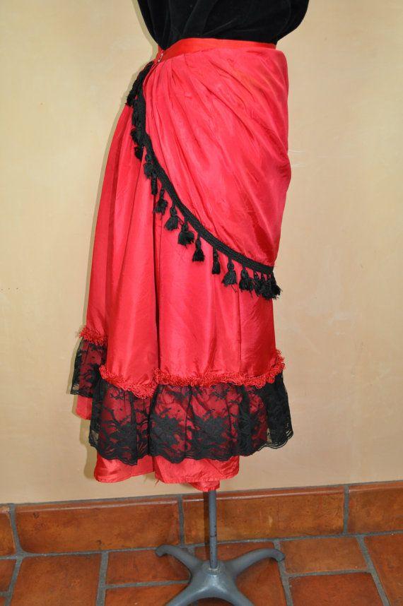 Vintage Saloon Girl Show Girl Red Skirt by somewhereintheattic