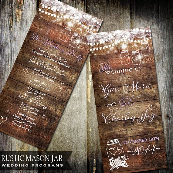 Rustic Mason Jar Wedding Program Wood by OddLotEmporium on Etsy