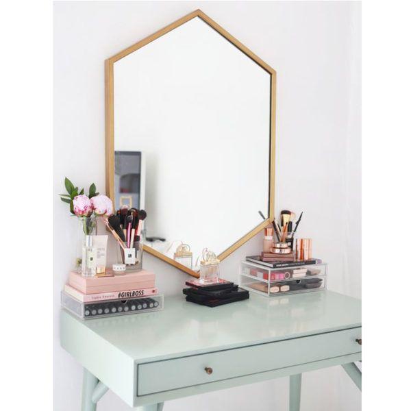 pinterest portrait desk gold mirror
