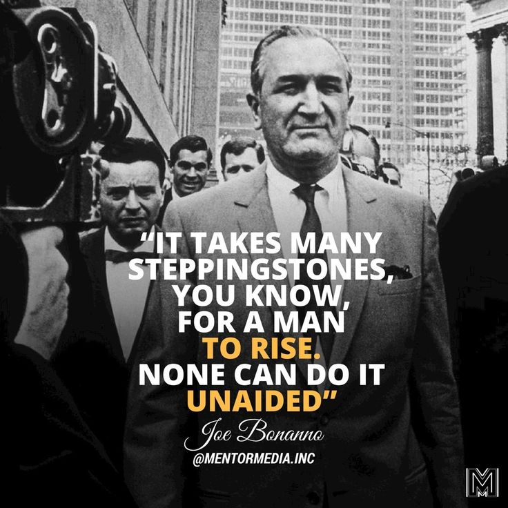 "mentormedia.inc💎📚Joseph Charles Bonanno Sr. was an Italian-born American mafioso who became the boss of the Bonanno crime family. 🔥 • • ""It takes many steppingstones, you know, for a man to rise. None can do it unaided."" -Joe Bonanno #mentormdia #mafiaboss #quote #businessman"