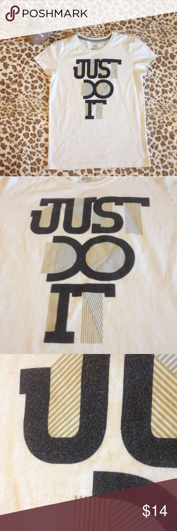 Nike Just Do It White Short Sleeve Tee Just do it tee in white with blue, green, and gray. Nike Tops Tees - Short Sleeve