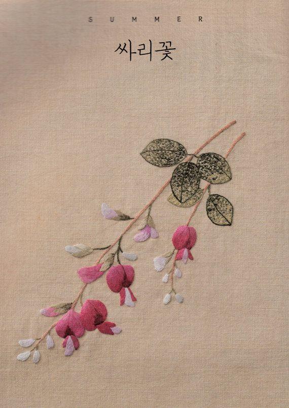 Korea Floral Embroidery - Korean craft book