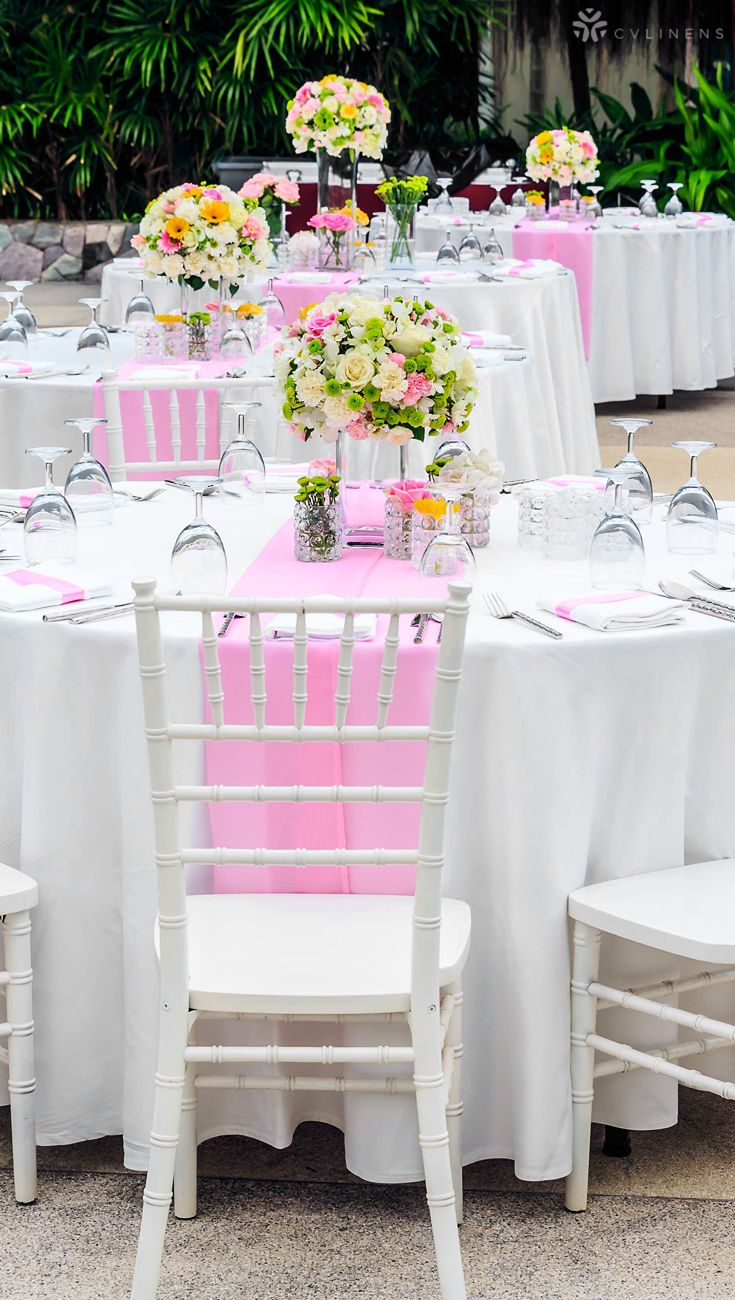 Elegant Pink And White Wedding Table Settings Pink Wedding Ideas