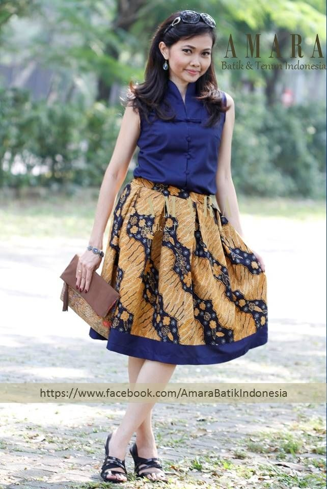 Batik tulis sogan lawas in flare skirt