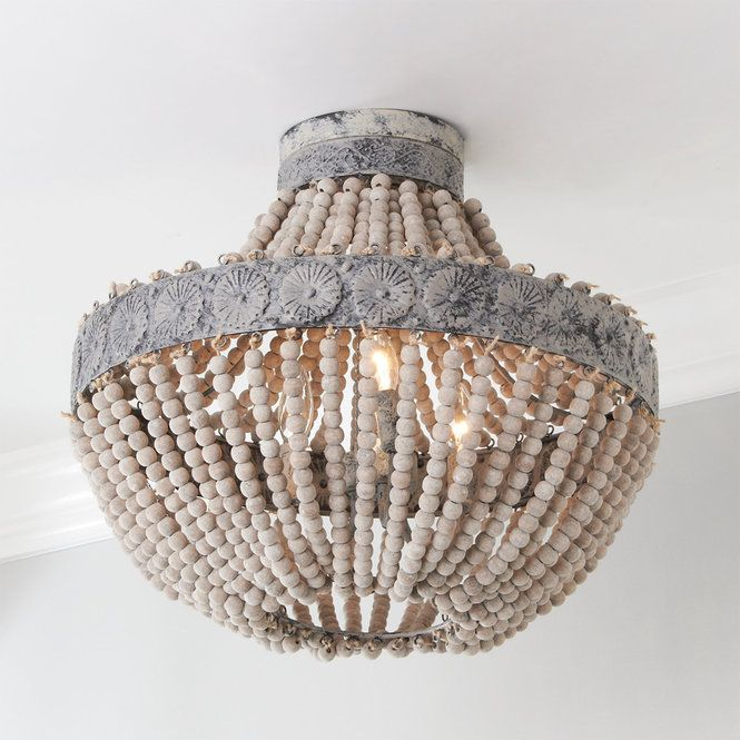Aged Wood Bead Semi Flush Ceiling Light Wood Bead Chandelier