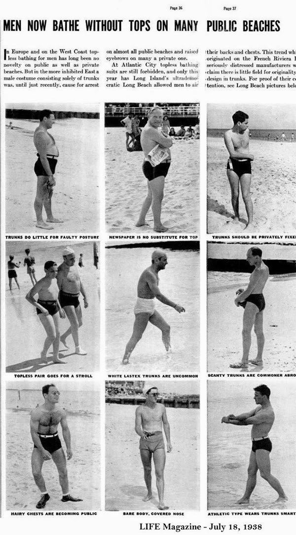 vintage 1938 LIFE magazine TOPLESS MEN AT THE BEACH
