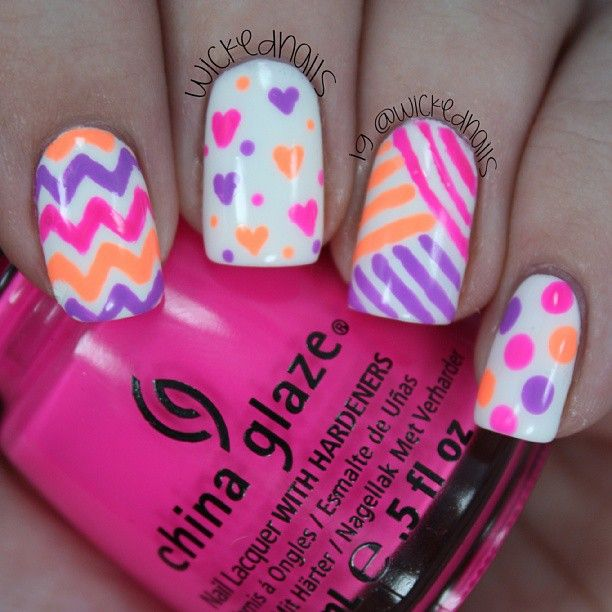 Fun neon nail art collage Neon purple, neon pink and neon orange