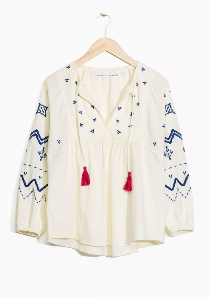 & Other Stories / TOMS Embroidered Blouse  in Off white