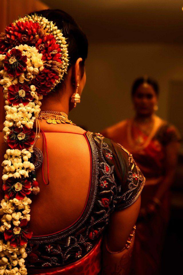 South Indian bride Temple jewelrySilk kanchipuram sari