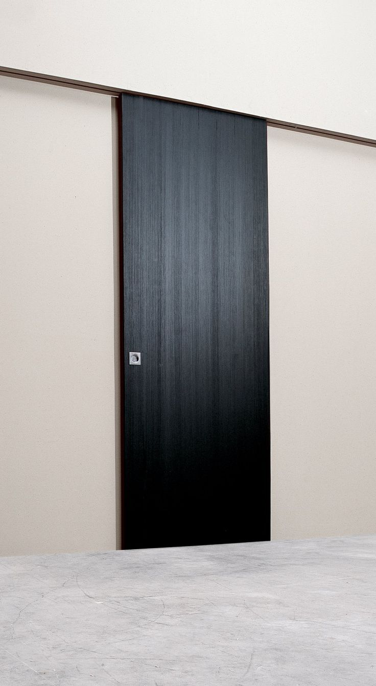 Modern interior sliding door - Modern Interior Sliding Door Featuring A Brush Black Pinewood Slab Sliding Panel Adapt For Bedroom Shutter