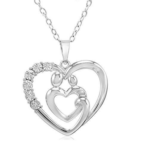 Mothers Day Gift For Mother Mom Necklace Pendant 6 Diamonds Sterling Silver NEW