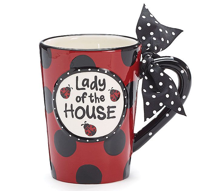 "A playful #gift for your favorite hostess!  Hand-painted ""Lady of the House"" ceramic mug accented with raised #ladybug design.  #burtonandburton"
