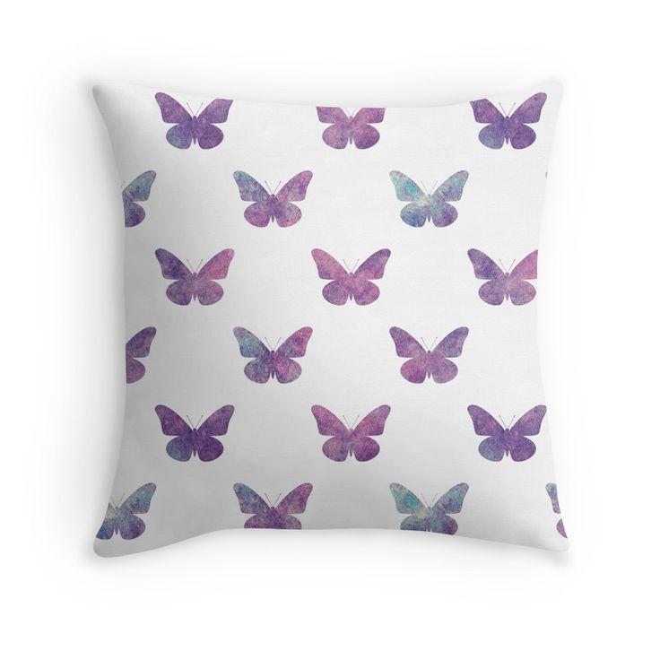 Beautiful purple watercolor butterflies pattern. Designed by Luna Princino. #throw #pillow #lunaprincino #home #decor #design #butterfly #butterflies #purple #violet #nebula #pretty #dreamy #watercolor #print #redbubble #beautiful #pattern #gift #idea #decorative #print #prints #interior