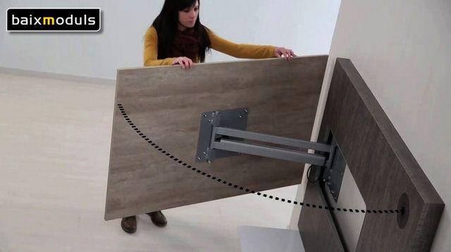 """El modelo de """"Mueble para TV 07"""", con un marco de 145cm x 106cm y un panel para la TV de 130cm x 95cm ideado para pantallas de hasta 52'', propone una combinación personalizada de colores en su diseño, revelando así la voluntad estética y la adaptación a cualquier ambiente particular que persiguen nuestra colección."""